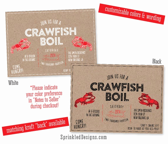 Crawfish Boil Invitation Wording Elegant Crawfish Boil Party Invitation Crab Shrimp by Sprinkleddesign