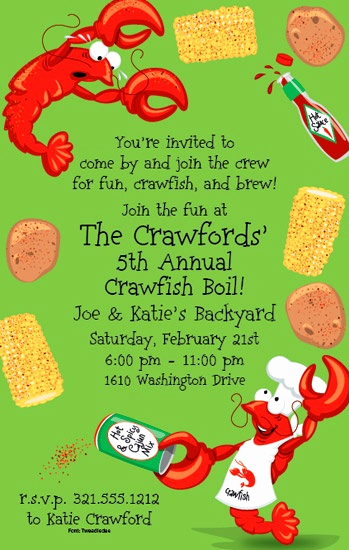 Crawfish Boil Invitation Wording Fresh 7 Best Images About Crawfish Parties On Pinterest