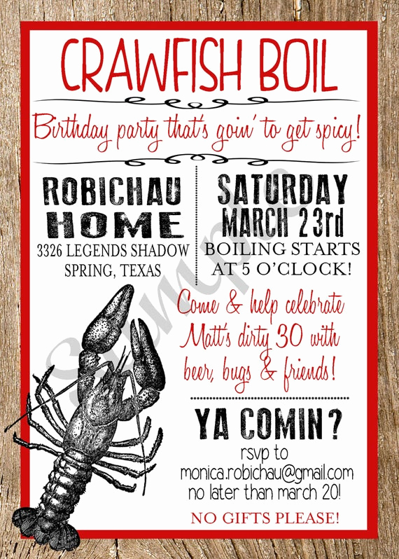 Crawfish Boil Invitation Wording Fresh Crawfish Boil Custom Digital Invitation by Markedbymonica