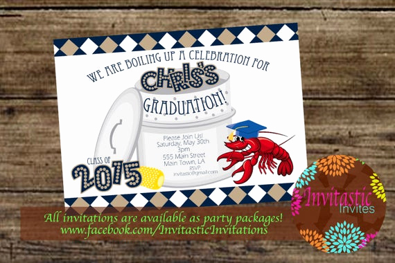 Crawfish Boil Invitation Wording Inspirational Crawfish Boil Graduation Party Invitation End Of the School