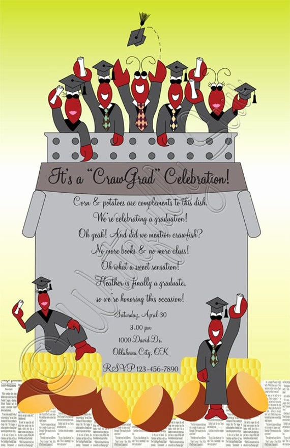 Crawfish Boil Invitation Wording Inspirational Items Similar to Crawfish Boil Graduation Print Yourself