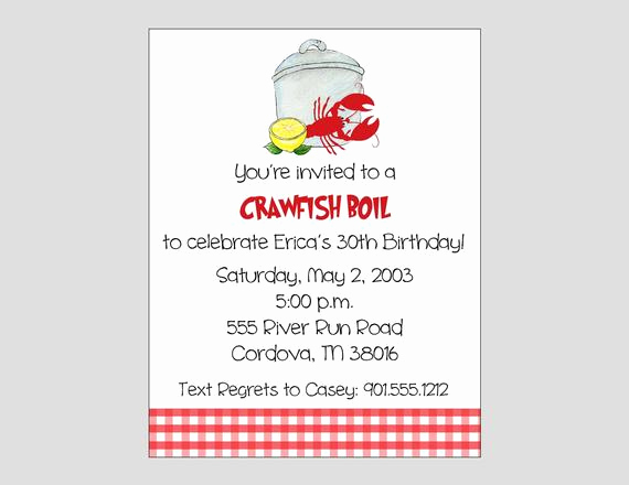 Crawfish Boil Invitation Wording Lovely Crawfish Boil Invitation Printable Lobster Boil Invitation