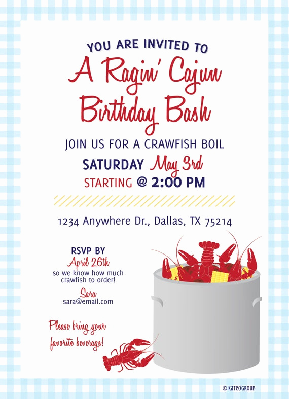 Crawfish Boil Invitation Wording Lovely Items Similar to Crawfish Boil Birthday Party Invitation