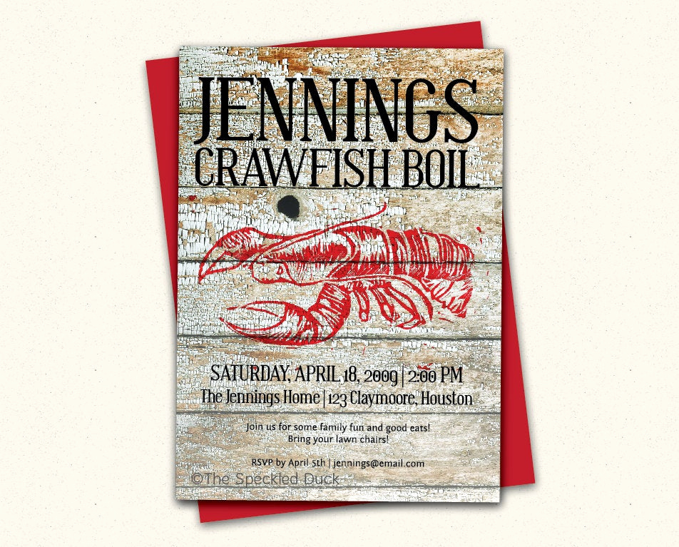 Crawfish Boil Invitation Wording New Peeling Paint Custom Crawfish Boil Invitation