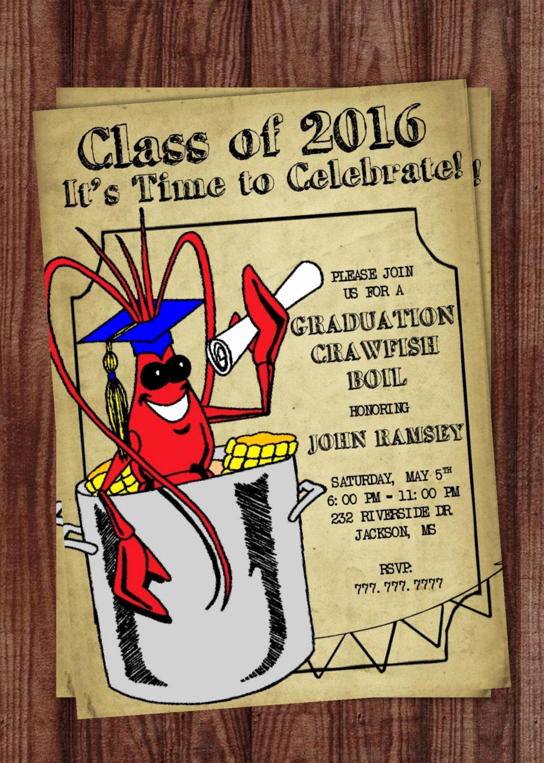 Crawfish Boil Invitation Wording Unique Crawfish Boil Invitation Graduation Party Generic Invitation