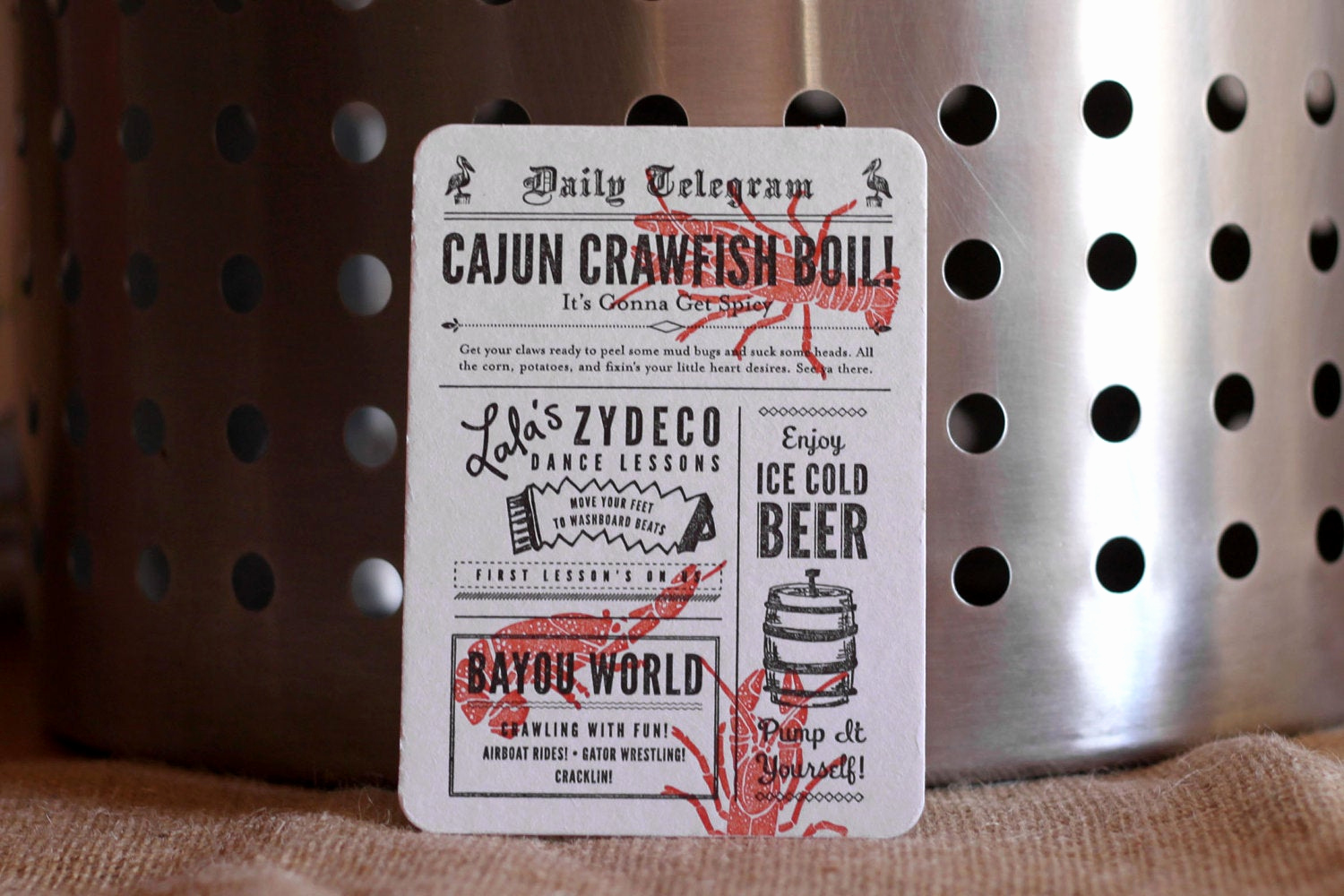 Crawfish Boil Invitation Wording Unique Crawfish Boil Invitations by Paperplatespress On Etsy