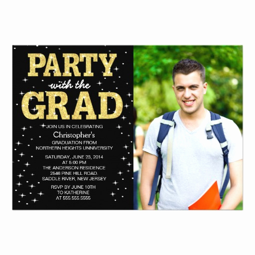 "Create Graduation Invitation Online Awesome Modern Gold Glitter Graduation Party Invite 5"" X 7"