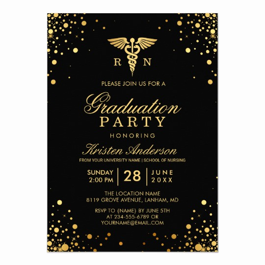Create Graduation Invitation Online Unique Black Gold Medical Nursing School Graduation Party Card