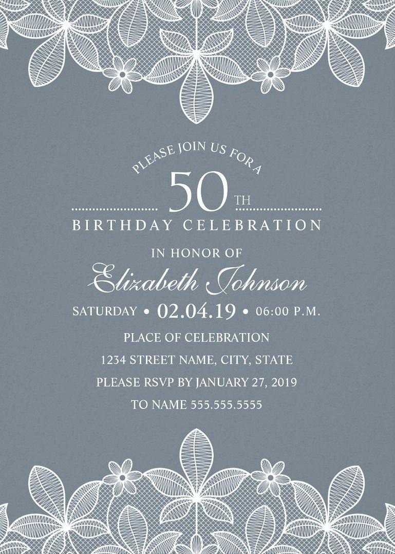 Creative Birthday Invitation Ideas Lovely Elegant Lace 50th Birthday Invitations Creative Luxury