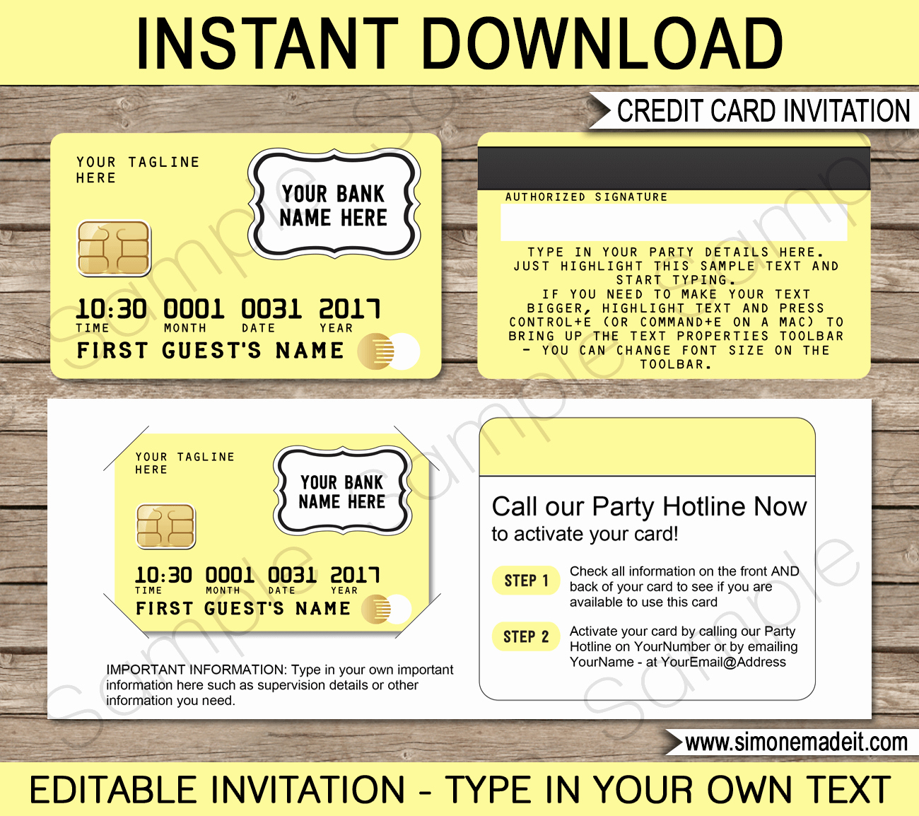 Credit Card Invitation Template Awesome Yellow Credit Card Invitations