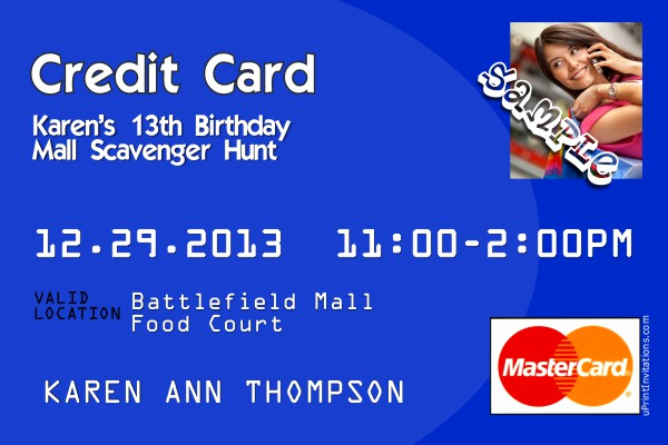 Credit Card Invitation Template Beautiful Credit Card Birthday Invitations All Colors