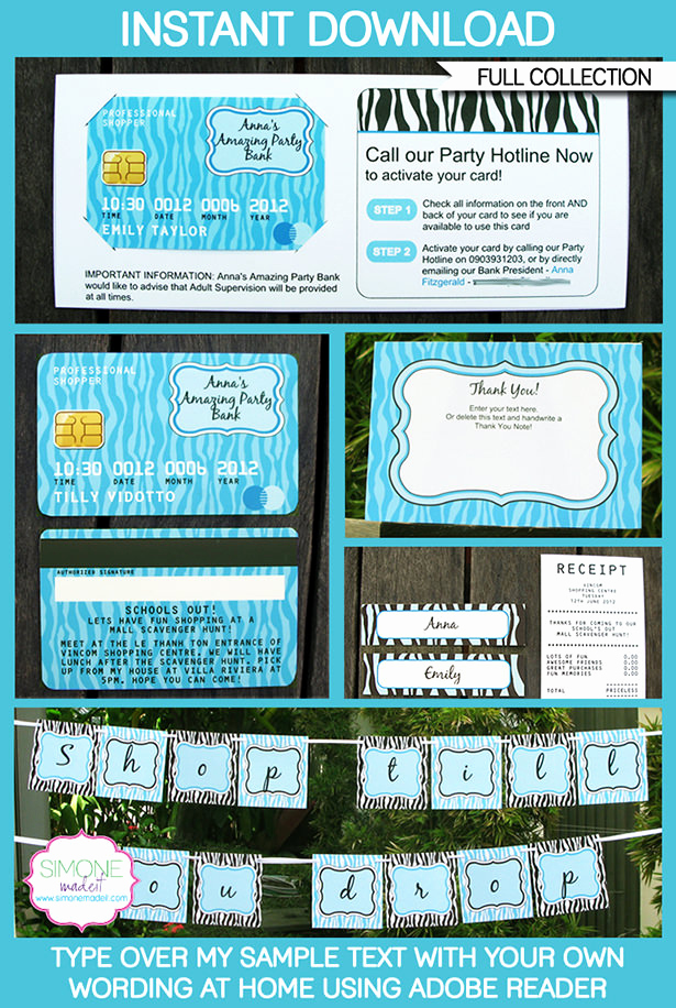 Credit Card Invitation Template Beautiful Mall Scavenger Hunt Party Printables & Invitations
