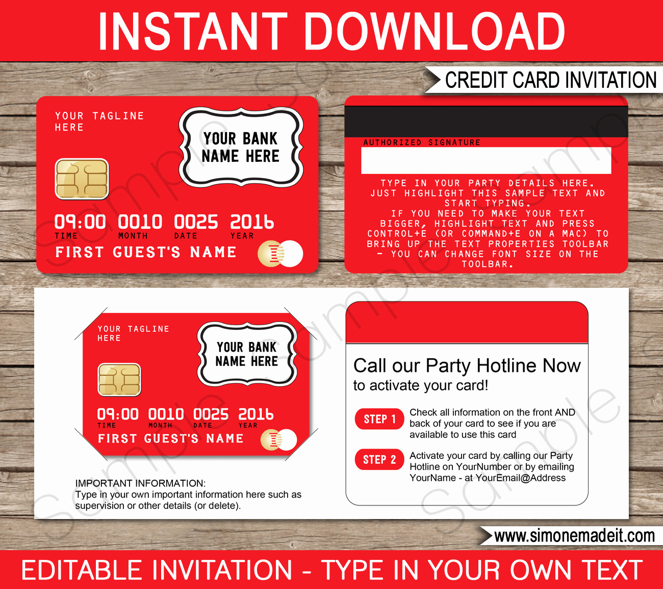 Credit Card Invitation Template Best Of Credit Card Invitation Template Mall Scavenger Hunt Red