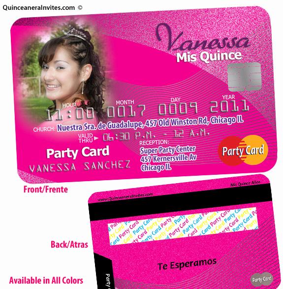 Credit Card Invitation Template Elegant Unique Quince Invitation