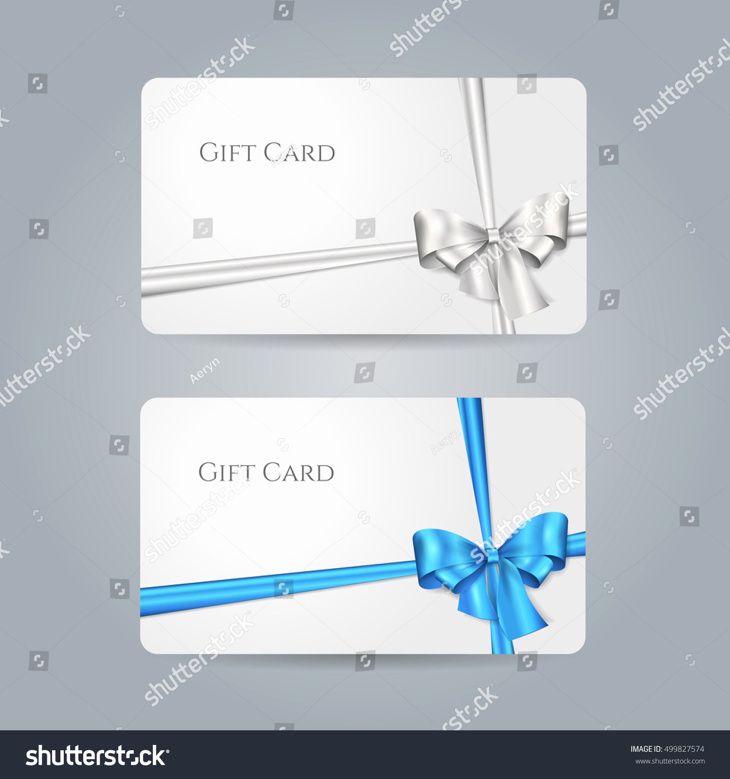 Credit Card Invitation Template Inspirational White Gift Card Blue Silver Bow Stock Vector