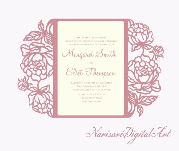 Cricut Wedding Invitation Templates Best Of Peonies Cricut Silhouette Cameo Wedding Invitation Gate