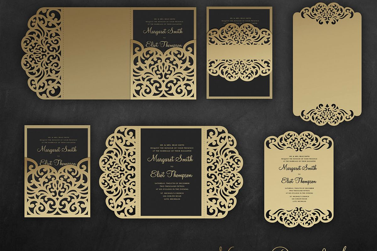 Cricut Wedding Invitation Templates Elegant Laser Cut Wedding Invitation Set 5x7 Cricut Template