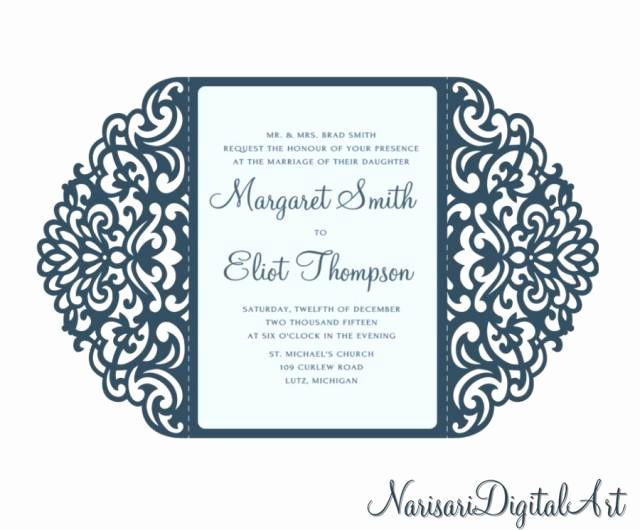 Cricut Wedding Invitation Templates Elegant ornamental 5x7 Gate Fold Wedding Invitation Card