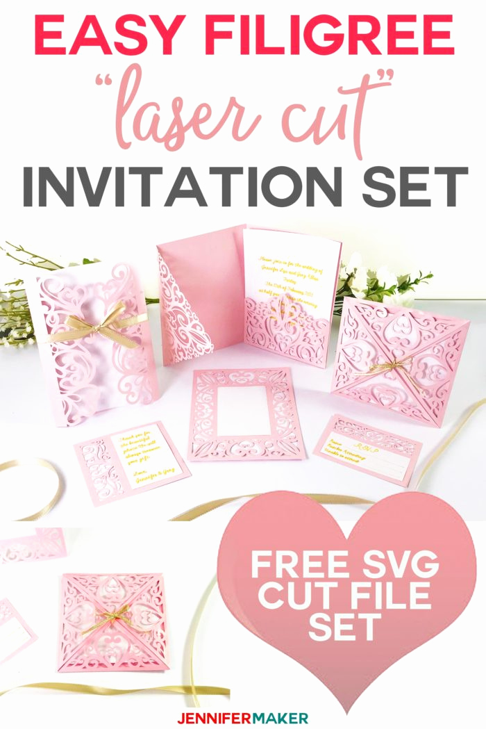 "Cricut Wedding Invitation Templates Fresh Diy Wedding Invitation Templates Free ""laser Cut"" Set"