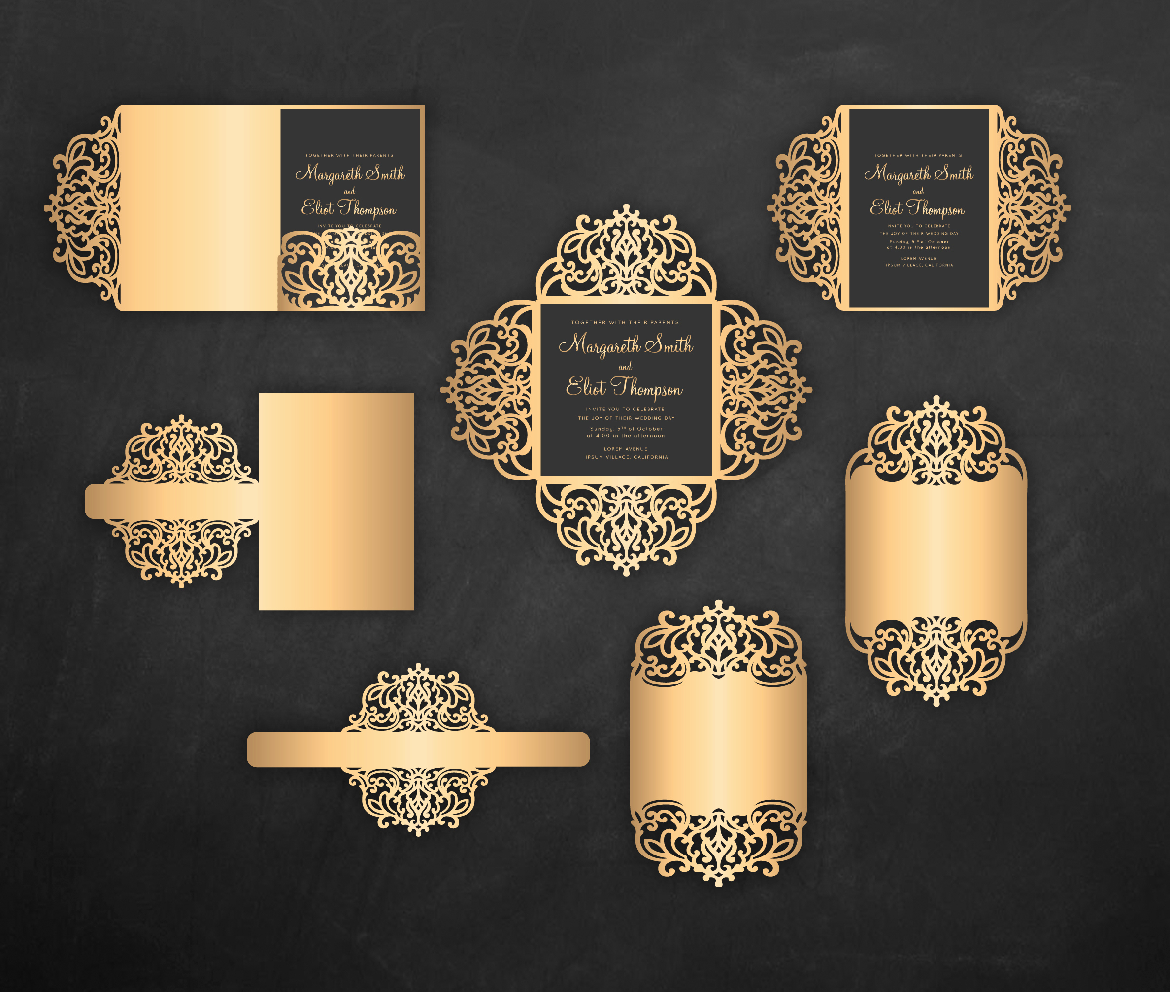 Cricut Wedding Invitation Templates Lovely Laser Cut Wedding Invitation Set 5x7 Cricut Template