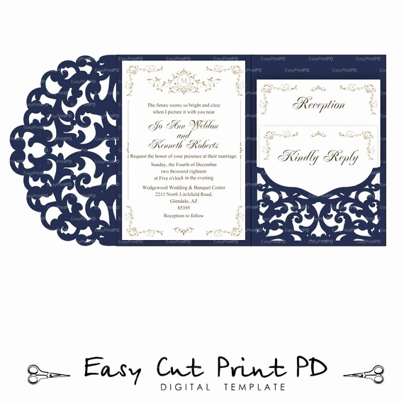 Cricut Wedding Invitation Templates Lovely Set Of Tri Fold Pocket Envelope 5x7 Wedding Invitation Svg Dxf