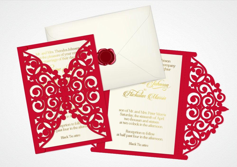 Cricut Wedding Invitation Templates Lovely Vector Laser Cut Wedding Invitation Cricut Template Laser