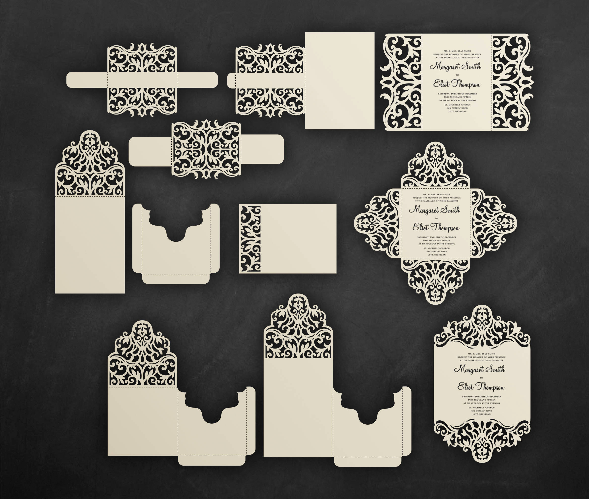 Cricut Wedding Invitation Templates Luxury Laser Cut Wedding Invitation Set Cricut Templates Gate