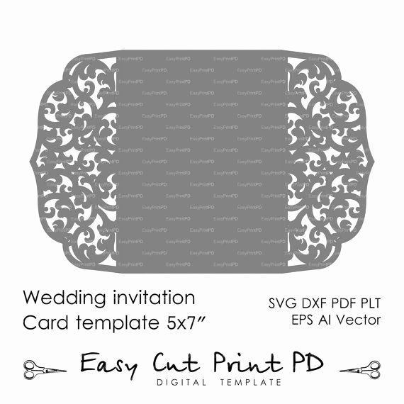 "Cricut Wedding Invitation Templates Unique Wedding Invitation Pattern Card 5x7"" Template Lace Folds"
