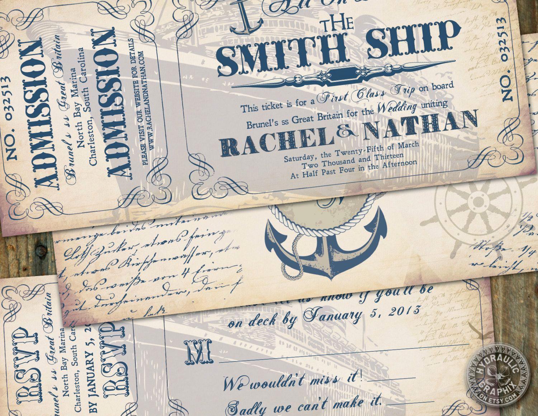 Cruise Ship Wedding Invitation Awesome Cruise Ship Ticket Invitation and Rsvp Printable Ticket