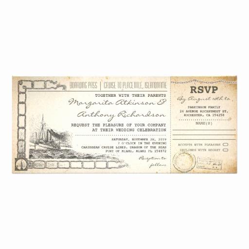 Cruise Ship Wedding Invitation Elegant Boarding Pass Cruise Wedding Invites with Rsvp