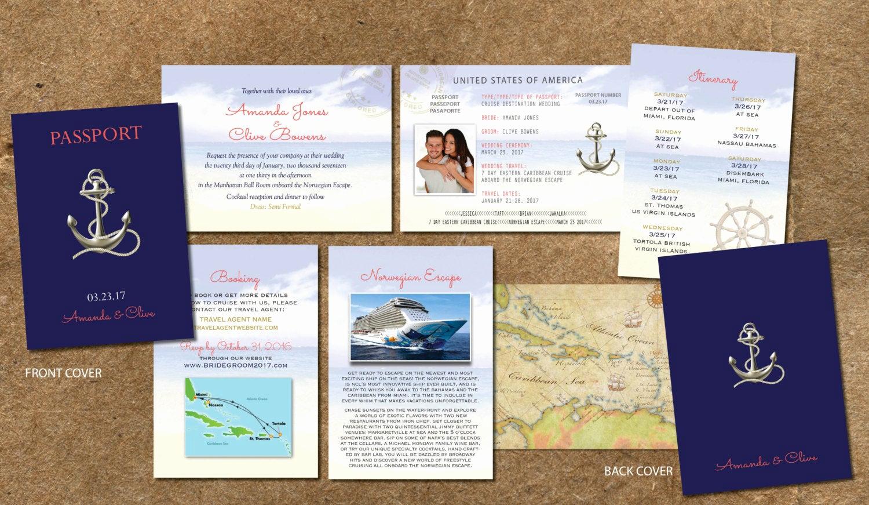 cruise wedding invitation passport