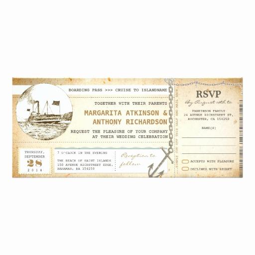 Cruise Ship Wedding Invitation Elegant Old Boarding Pass Cruise Wedding Invites with Rsvp
