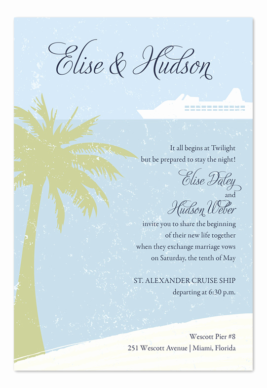 Cruise Ship Wedding Invitation Inspirational island Cruise Wedding Invitations by Invitation
