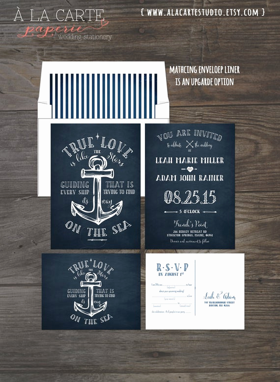 Cruise Ship Wedding Invitation Inspirational True Love Nautical Anchor Wedding Invitation and Rsvp Card