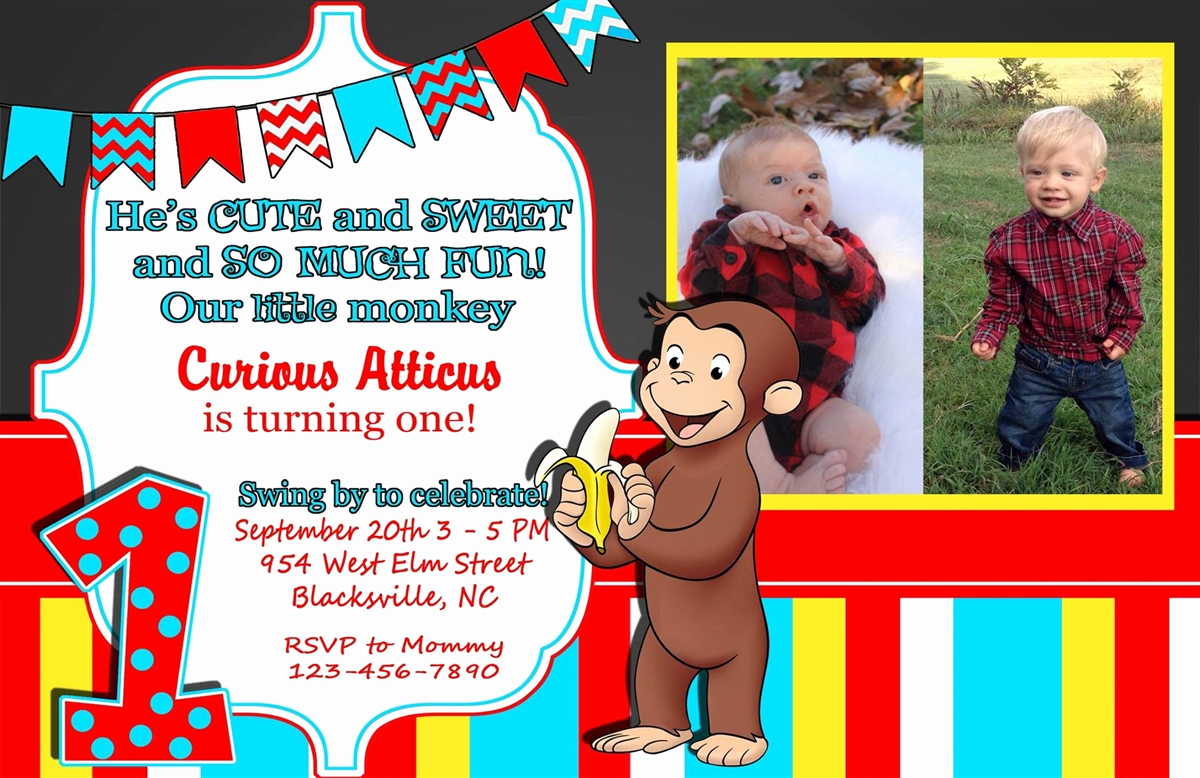 Curious George Birthday Invitation Awesome Birthday Invitation Curious George theme