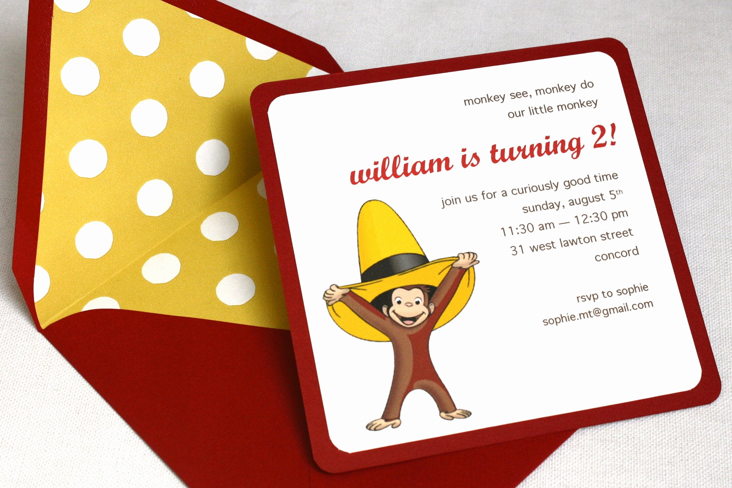 Curious George Birthday Invitation Awesome Curious George Birthday Party Invitation Square Envelope and