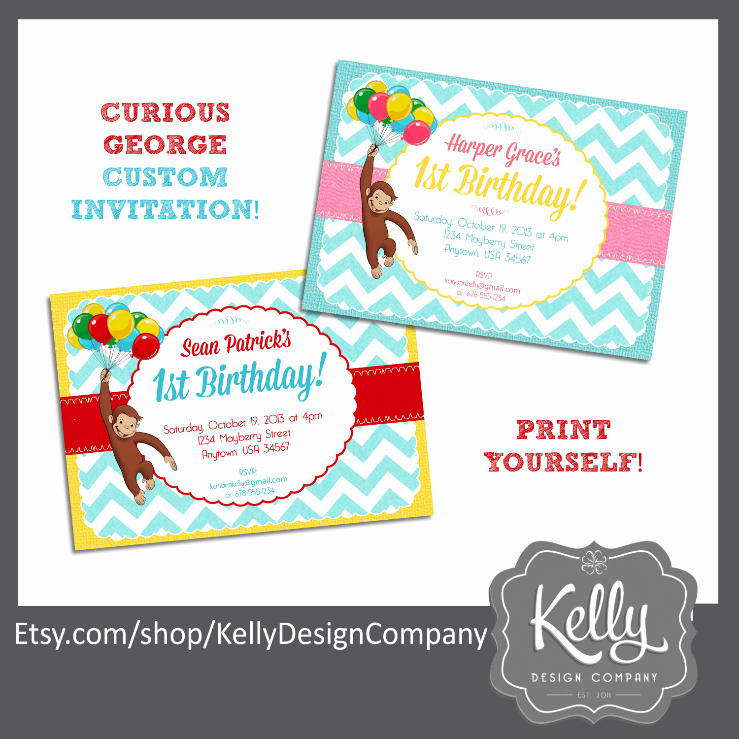 Curious George Birthday Invitation Beautiful Curious George Invitation Design Print Yourself Digital File