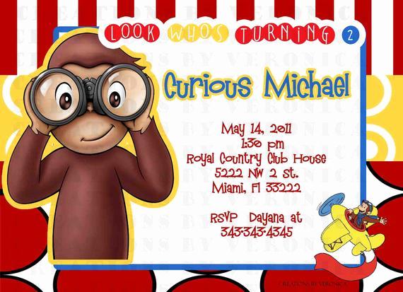 Curious George Birthday Invitation Beautiful Items Similar to 10 Birthday Curious George Monkey Pbs