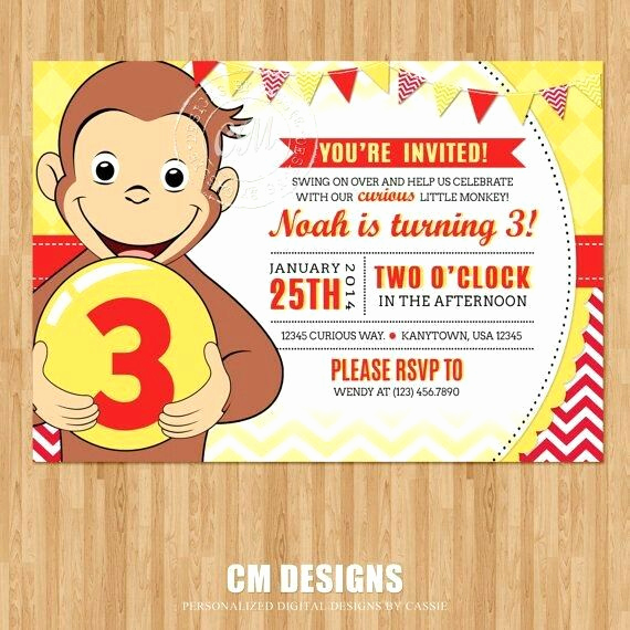 Curious George Birthday Invitation Elegant 26 Best Birthday Invitation Cards Images On Pinterest