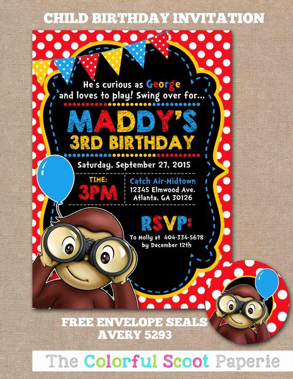 Curious George Birthday Invitation Elegant Curious George Birthday Invitation Curious George Birthday