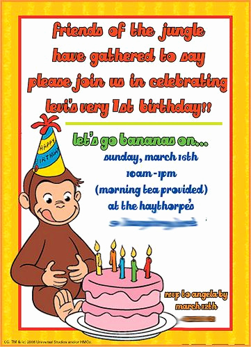 Curious George Birthday Invitation Fresh Free Curious George Invitations Templates