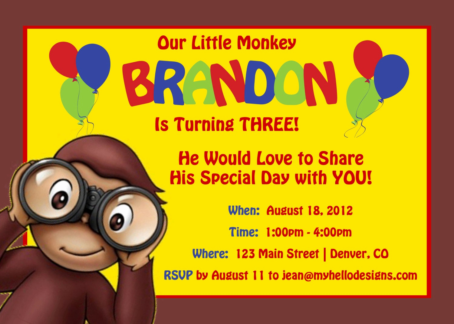 Curious George Birthday Invitation Fresh Unavailable Listing On Etsy