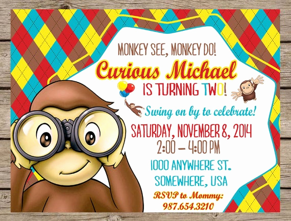 Curious George Birthday Invitation Inspirational Curious George Invitation Curious George by Play Wordsart