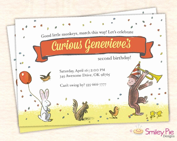 Curious George Birthday Invitation Inspirational Curious George Invitation Vintage