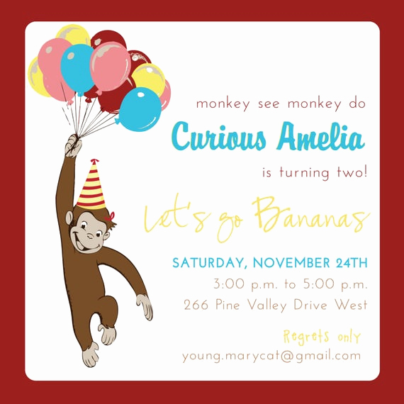 Curious George Birthday Invitation Inspirational Items Similar to Curious George Birthday Invitation On Etsy