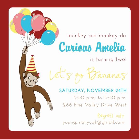 Curious George Birthday Invitation Inspirational Items Similar to Curious George Birthday Invitation On Etsy