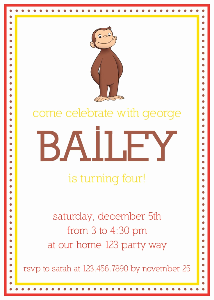 Curious George Birthday Invitation Lovely 1000 Images About Curious George Birthday On Pinterest