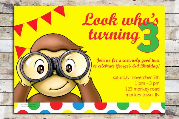 Curious George Birthday Invitation Lovely Character Birthday Invitations – Olivia Jane Llc