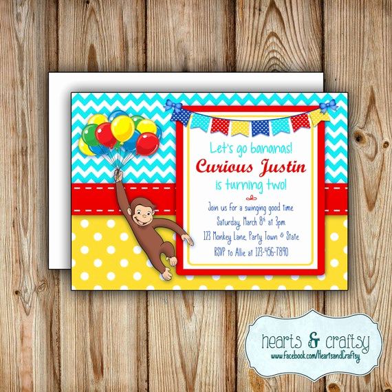 Curious George Birthday Invitation Lovely Curious George Birthday Party Invitation Curious George