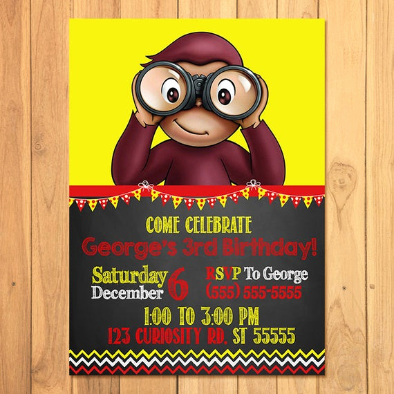 Curious George Birthday Invitation Lovely Curious George Invitation Chalkboard Curious George Birthday